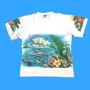 Vintage 90s Iguana Island All Over Print Tee Shirt